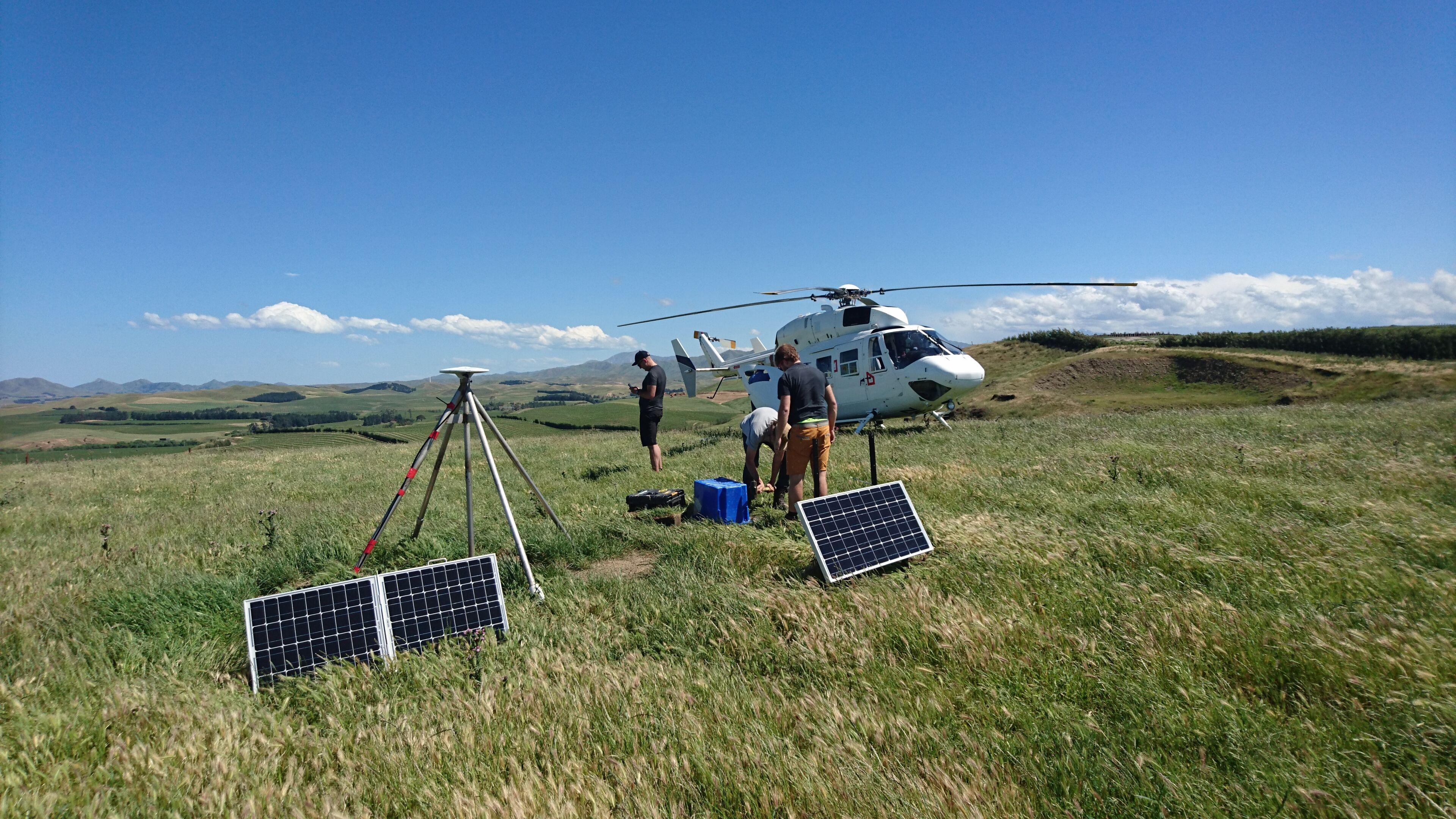 Setting up a site in a field in Seddon, Marlborough. Photo / GeoNet