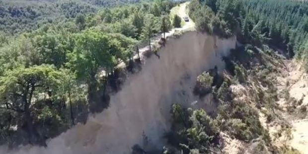 Loading The footage shows a massive canyon created near Mt Lyford following the earthquake. Photo / Supplied