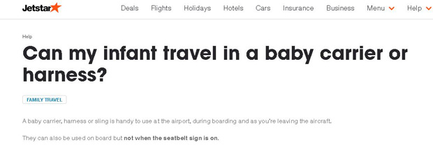 Jetstar's policy, as stated on its website.
