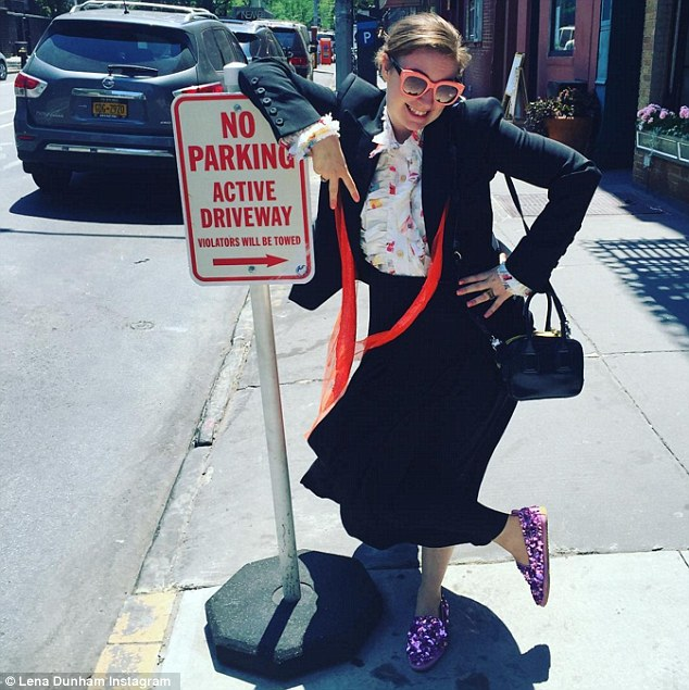 Lena Dunham showing off her sparkly shoes. Photo / Instagram