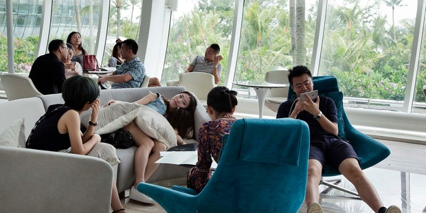 Potential buyers at the Country Garden Forest City Sales Gallery in Johor Malaysia. Photo / Bloomberg