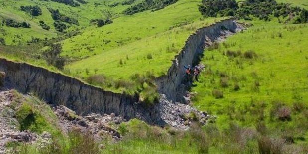 Loading Dr Kate Pedley, shared on Facebook some of the dramatic sights she encountered as she surveyed evidence of faulting in the countryside around Waiau. Photo / Dr Kate Pedley