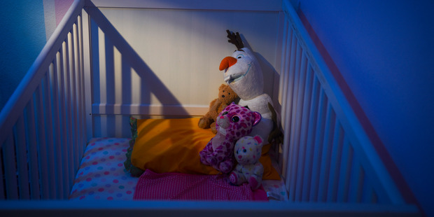 Stuffed animals sit on a bed at Saira Khan's home for her niece, the daughter of Syed Rizwan Farook and Tashfeen Malik. Photo / Washington Post, Jahi Chikwendiu