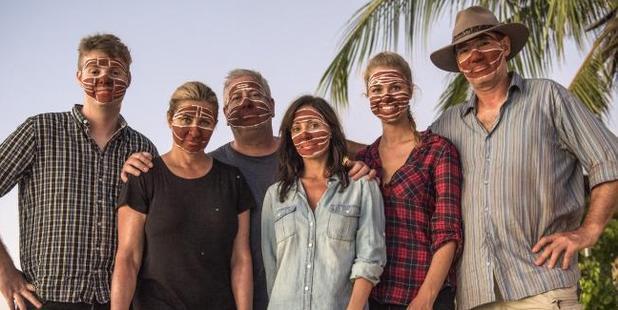 Comedian Tom Ballard, Nicki Wendt, TV personality Ian 'Dicko' Dickson, singer Natalie Imbruglia, former Miss Australia Renae Ayris and ex-One Nation politician David Oldfield on location. Photo / SBS