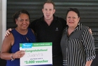 Juanita Hool (left) is presented her Sport Maker Award by Sport Northland's Paul Cleary and Takahiwai's Lynn Freeman.
