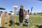 Sydney Pope, 10 and Bentley Malcolm, 1, can't get enough of Colenso, the friendly, furry alpaca. Photo / George Novak