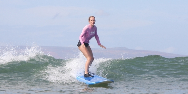 Catherine learned to surf in Maui. Photo / Catherine Steel