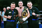 New Zealand Heavyweight boxer Joseph Parker with his trainer Kevin Barry and Barry's son Taylor. Photo / Photosport.