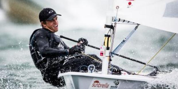 New Zealand sailor Andy Maloney competes in the ISAF Sailing World Cup in Miami.