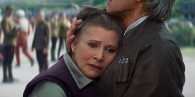 Leia and Han Solo in a scene from The Force Awakens.
