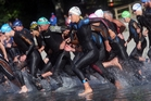 The entrants get underway at the beginning of the sprint triathlon last year. Photo / Ben Fraser