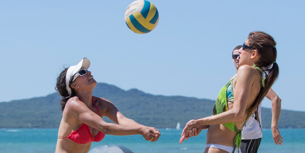 Milena Valbuene attacks the ball at Auckland's Mission Bay. Photo / Greg Bowker