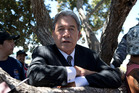 NZ First leader Winston Peters taking advantage of the shade in a tree while speaking to media at Ratana. Photo / Mark Mitchell