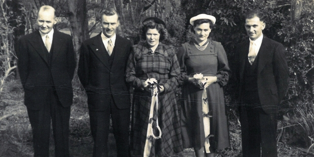 WEDDING DAY: Bestman Doug Grant (left), Arthur Taylor and his bride Sandra Metcalfe, Arthur's sister Iris Taylor and Earle Metcalfe (no relation to the bride).