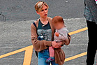 Scarlett Johansson with her baby at Miramar's Stone Street Studios in Wellington. Photo / BackGrid