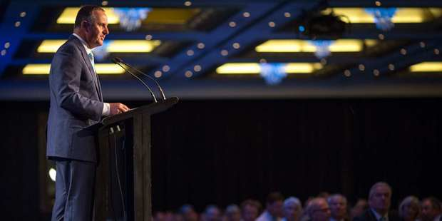 Prime Minister John Key addresses a large audience at the Auckland Chamber of Commerce meeting. Photo / Greg Bowkero