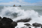 Mauao base track was close a few days ago due to large waves. Photo/George Novak