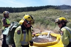 Before: Dargaville volunteer firefighters use the portable dam to pump water to the fire front during a scrub fire at Pouto Pt.