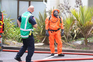 Emergency services attend the sene of a chemical spill at the Dodson Medical Centre on Dodson Ave. Photo / Daniel Hines