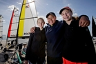 Issie Robinson, Pasi Talakai and Margot Cranshaw get to grips with yachting during their month-long outdoor education course at Kahunui in Bay of Plenty. Photo / Alan Gibson