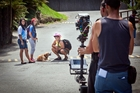 Shooting a scene for This Is Paki are (from left) Maiau Houltham, Hinerauwhiri Paki (who stars as Piki), Kimo Houltham and Honey the dog. Photo / Andrew Warner