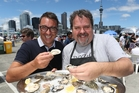 Brett McGregor and Martin Bosley face off over oysters. Photo / Dean Purcell