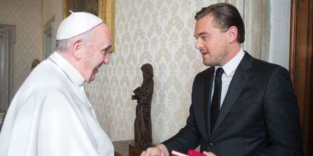 Loading Pope Francis welcomes US actor Leonardo DiCaprio during a private audience at the Vatican. Photo / AFP