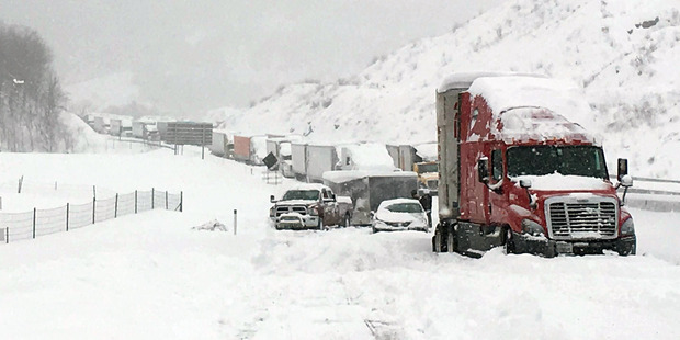 Traffic is at a standstill on the Pennsylvania Turnpike. Photo / AP