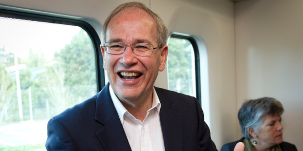 Mayor Len Brown on Auckland's new electric trains. Photo / Sarah Ivey