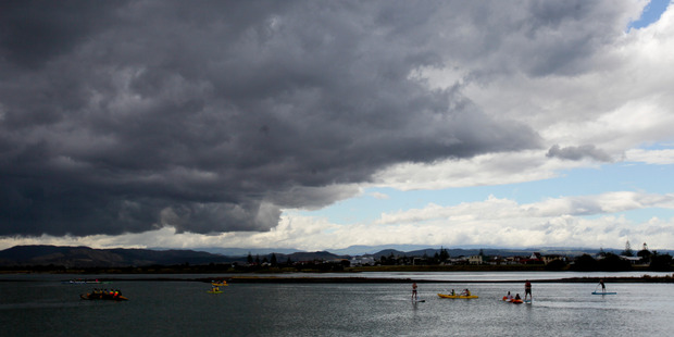 Storm clouds over Pandora Pond in Ahuriri, Napier, earlier this month. Photo / Hawke's Bay Today, Warren Buckland