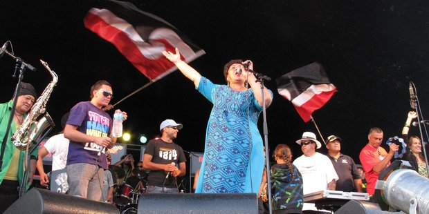 """""""Auntie Mabel"""" steals the show during Katchafire's final encore in a previous Ngapuhi Festival. PHOTO / PETER DE GRAAF"""