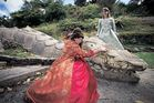 Sarah Bate playing Duchess Frederika, with Brittany Betjeman playing Rosalind behind her. Photo/Penelope Coleman