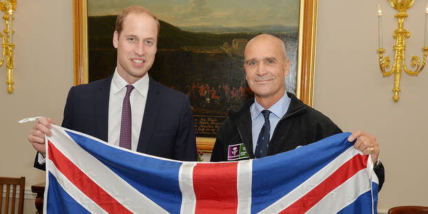 Prince William and Henry Worsley in October last year, just before the explorer set off on his expedition. Photo / Getty Images