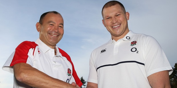 Eddie Jones shakes hands with his new captain, Dylan Hartley. Photo / Getty Images