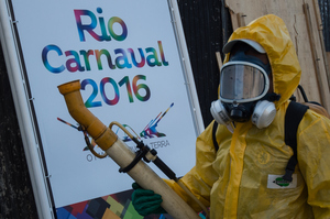 A health official sprays for Zika-carrying mosquitoes in Rio de Janeiro. Photo / Getty Images