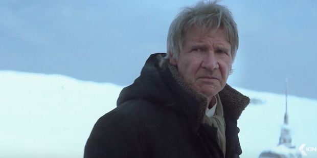 Harrison Ford stars as Han Solo in a scene from the movie, Star Wars: The Force Awakens.