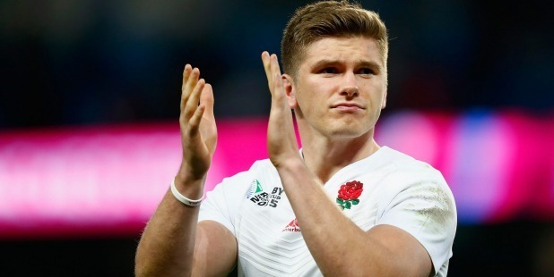 England international Owen Farrell has put forward an early bid for the most embarrassing rugby moment of 2016. Photo / Getty Images.