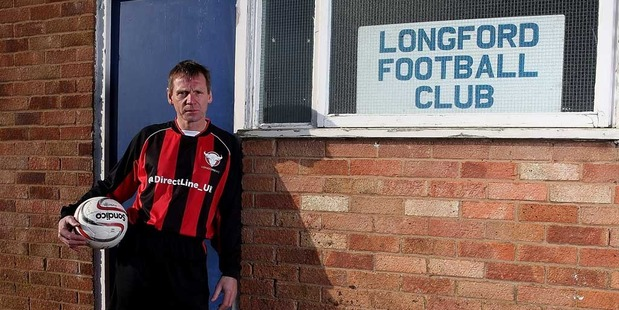 Stuart Pearce is unveiled by Longford AFC manager Nick Dawe after Direct Line stepped in to help fix the fortunes of the team dubbed the worst football club in England. Photo / Getty Images.