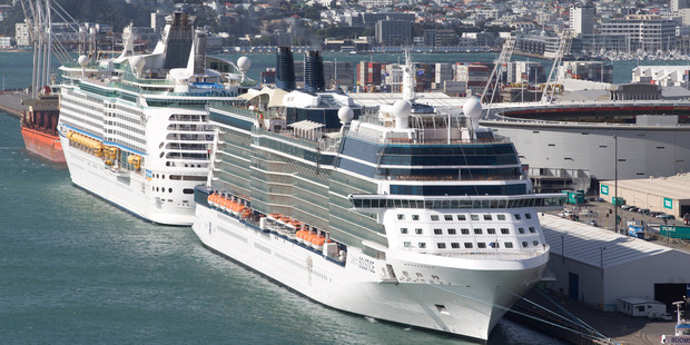 The Royal Caribbean International's cruise ships Voyager of the Seas, left, and Celebrity Solstice. Photo / Mark Mitchell