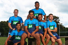 The Blues have placed a lot of faith in their under-21 brigade which includes, from left: Jordan Trainor, Reiko Ioane, Akira Ioane, TJ Faine (top), Sam Nock and Blake Gibson. Photo / www.photosport.nz