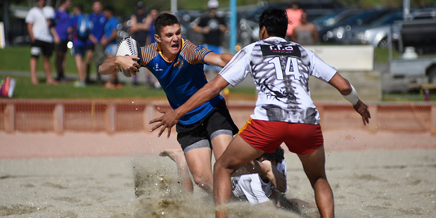 Gonzalo Arias on attack for Tauranga Sports at the Mount Beach 5s tournament at Mount Main Beach on Saturday. Photo / George Novak