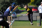Greerton bowler Tommy Clout lets a quick ball fly against Te Puke at Pemberton Park. Photo / George Novak