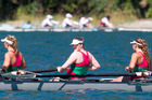 Members of Rotorua Rowing Club on the water on Saturday at the Blue Lake Regatta. Pictured (centre) is Sofia Morrell, 16. Photo / Ben Fraser