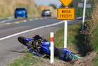 The motorcycle involved in a crash south of Rotorua this afternoon. Photo/Ben Fraser