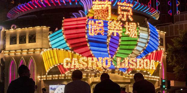 Macau's Casino Lisboa. China's anti-corruption campaign has hit gambling revenues in Macau. Photo / Bloomberg