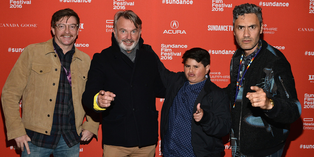 Rhys Darby, Sam Neill, Julian Dennison and Taika Waititi at the Hunt For The Wilderpeople premiere at the Sundance Film Festival (Getty).