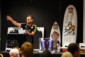 Aaron Cruden pictured at the Austin Manning fundraising dinner with the Chiefs rugby team. Photo/George Novak
