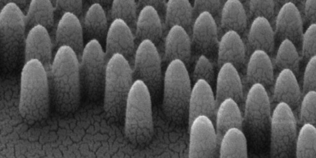 Tiny conical etchings in a window have a self-cleaning effect. Photo / Engineering and Physical Sciences Research Council
