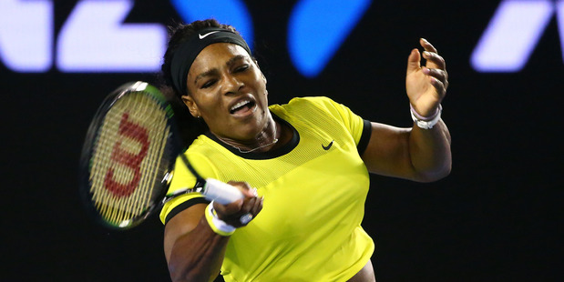 Serena Williams of the United States plays a forehand in her semi final match against Agnieszka Radwanska of Poland. Photo / AP.