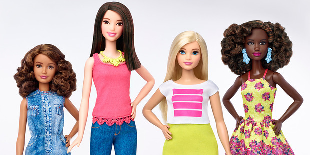 The new range includes (from left) petite, tall, curvy and the traditional anatomically impossible Barbie. Photo / AP